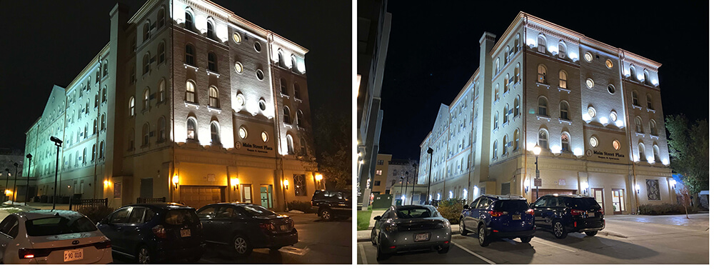 Completed LED Lighting Installation on an Apartment Building