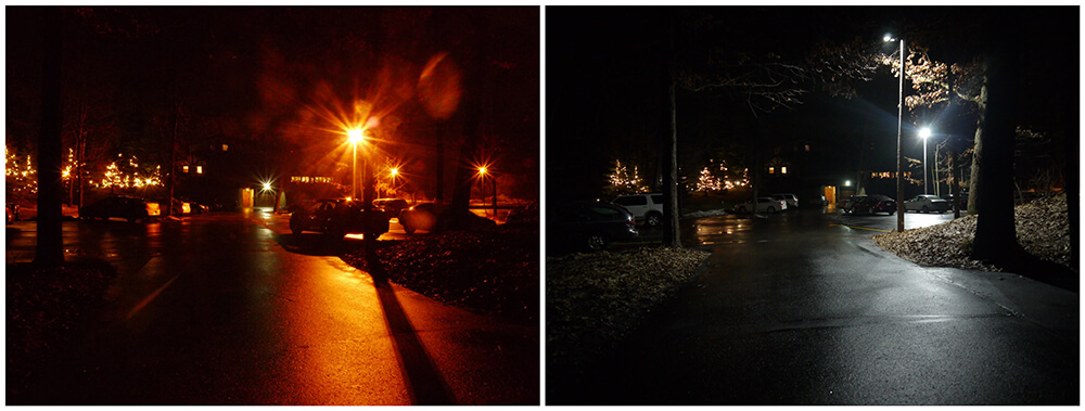 Before & After LED Lighting Retrofit in A Parking Lot