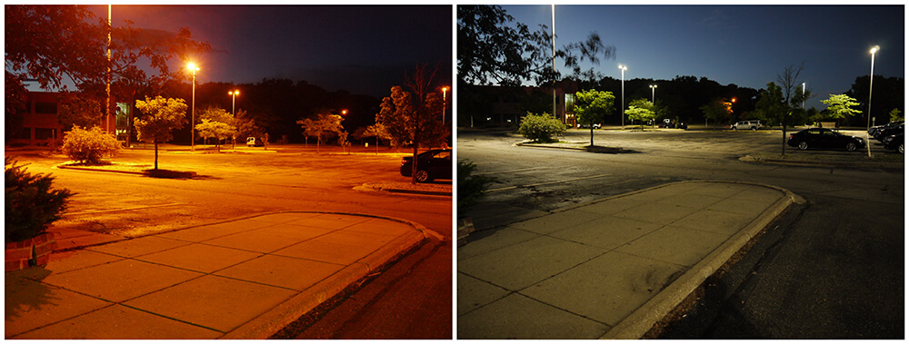Parking Lot HID Lighting Upgraded to LED Retrofit Kits