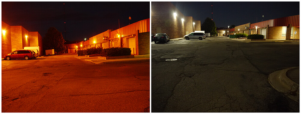 Parking lot lighting before & after LED Lighting Installation