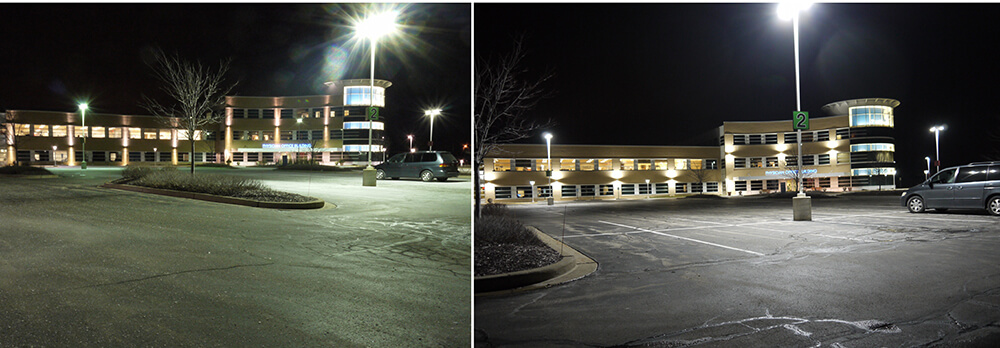 Side by Side comparison of Parkling Lot Lighting Upgraded to LEDs