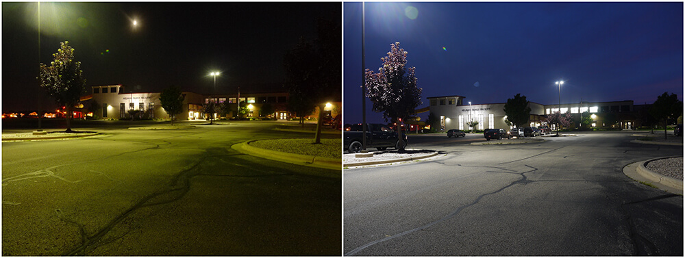 Before & After Upgrading Parking Lot Lighting to LEDs
