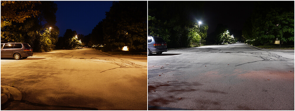 Before & After LED Lighting Installation in a Parking Lot